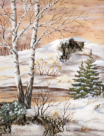 birch bark: Handmade, drawing distemper on a birch bark: winter siberian landscape