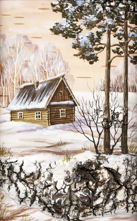 wintry landscape: Drawing distemper on a birch bark: small house in wood