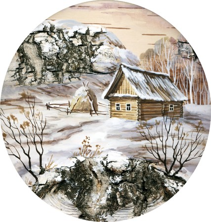distemper: Drawing distemper on a birch bark: small house in wood