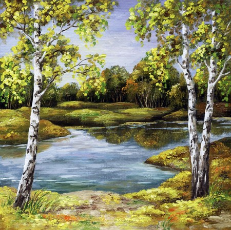 oil paintings: Landscape, picture oil paints on a canvas: birches on coast, autumn