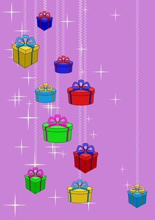 Boxes with gifts on a colour background with stars. Celebratory picture Vector