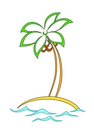 coconut palm: Island, palm tree with leaves, sea waves