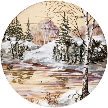 Handmade, drawing distemper on a birch bark: winter siberian landscape Stock Photo - 7882175