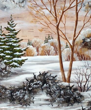 Handmade, drawing distemper on a birch bark: winter siberian landscape Stock Photo - 7955105