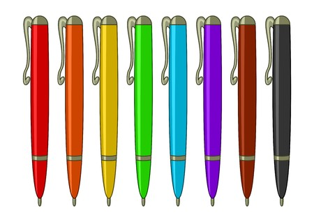 blue pen: Pens, ball-points, multi-coloured set: six colours of a rainbow, brown and black Illustration