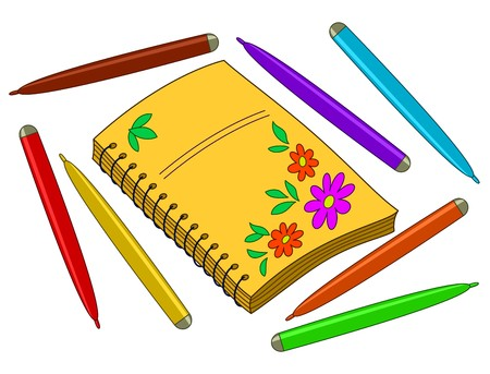 writing instrument: Notebook with flower pattern on cover and felt-tip pens Illustration