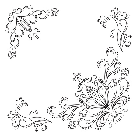 Abstract pattern: leaves, stalks and lotus flowers. Contours Illustration