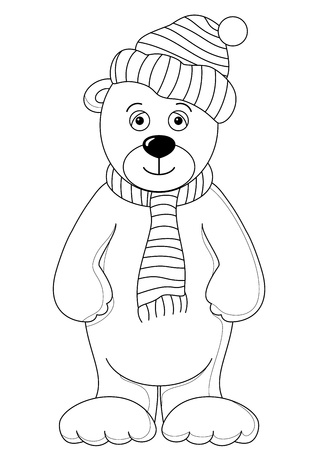 Teddy bear in cap and scarf, monochrome contours Vector
