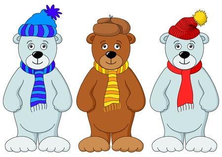 osos de peluche: Osos de peluche en invierno gorro y bufanda, amigos, establecer Vectores