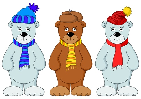 cub: Teddy bears in winter cap and scarf, friends, set