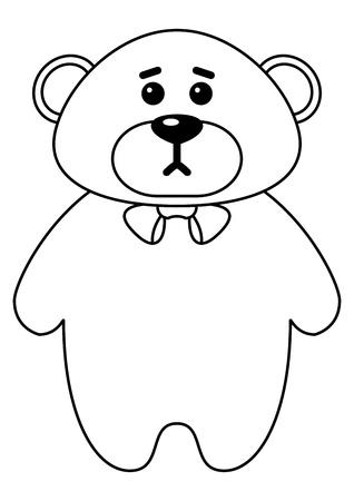 Teddy bear a tilde, toy, monochrome contours Vector