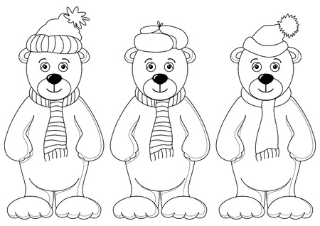 Teddy bears in winter cap and scarf, friends, contours Vector