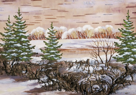 Winter natural landscape. Handmade, drawing distemper on a birch bark photo