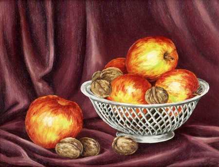 painting and decorating: Apples and nuts on a red background. Picture oil paints on a canvas
