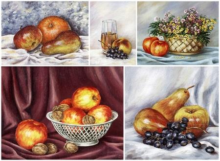 Food, fruits: apples, nuts, orange, grape, juice. Pictures oil paints on a canvas, set photo