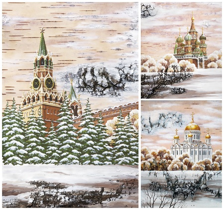 birch bark: Picture. Russia, Moscow, well-known buildings, set: Kremlin; Pokrovsky Cathedral; cathedral of the Christ of the Savior. Handmade, drawing distemper on a birch bark