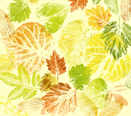 acryl: Abstract background, watercolor: leaves, hand painted on a paper Stock Photo