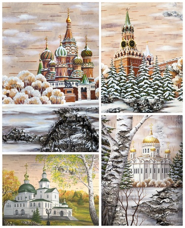 birch bark: Picture. Russia, Moscow, well-known buildings, set: Pokrovsky Cathedral; Kremlin; Danilov Monastery; cathedral of the Christ of the Savior. Handmade, drawing distemper on a birch bark Stock Photo
