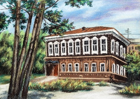 siberia: Picture, wooden ancient house, Russia, Siberia, Novosibirsk. Drawing a pastel on a cardboard