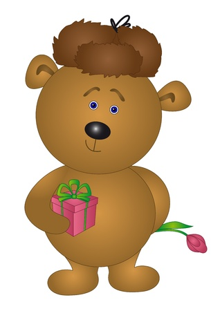 Holiday vector: teddy bear enamoured in winter cap with gift box and flower Vector