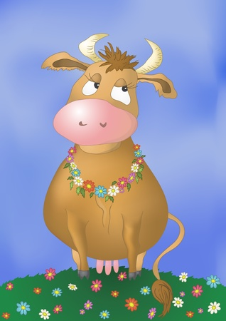 heifers: Beautiful pensive cow on a flower meadow Illustration