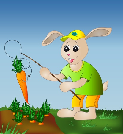 Rabbit with a fishing tackle catches a carrot from a bed Stock Vector - 8911756