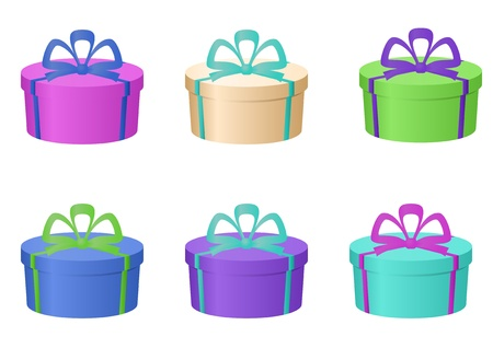 Gift holiday boxes multi-coloured isolated with bows, round, set Vector