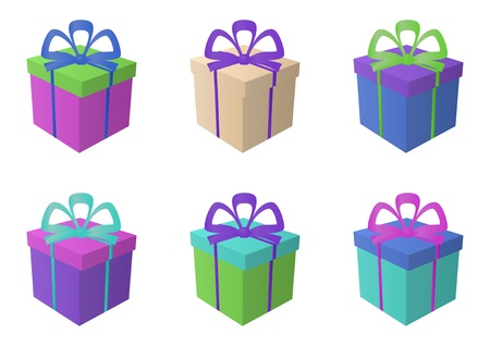 Gift holiday boxes multi-coloured isolated with bows, square, set Vector