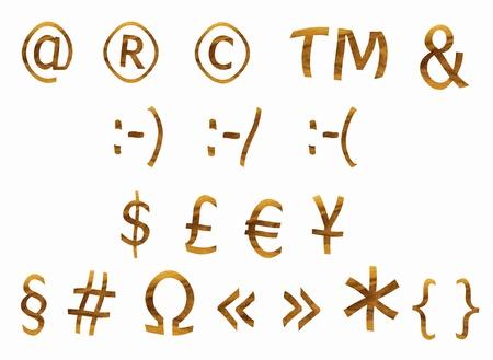 teak: Signs and symbol from teak veneer, set