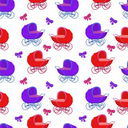 seamless background, baby red and violet carriages and bows Vector