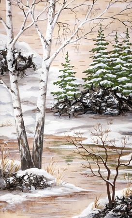 Picture, winter natural landscape. Handmade, drawing distemper on a birch bark Stock Photo - 9060505