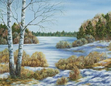 oil paints: Imagen �leo sobre un lienzo, paisaje: primavera Foto de archivo