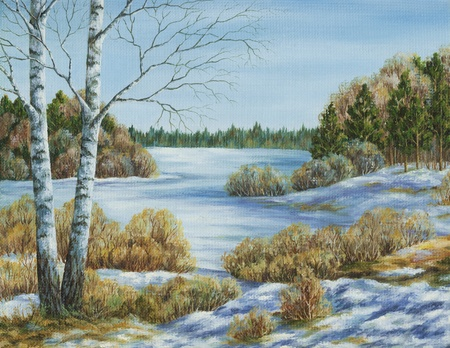 Picture oil paints on a canvas, landscape: early spring Stock Photo - 9184226