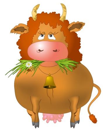 redheaded: Vaca rizado rojo come un pasto verde, aisladas vectoriales