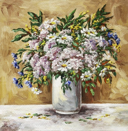 Picture oil paints on a canvas: flower camomiles, cornflowers and origanum in a white glass Stock Photo - 9265852