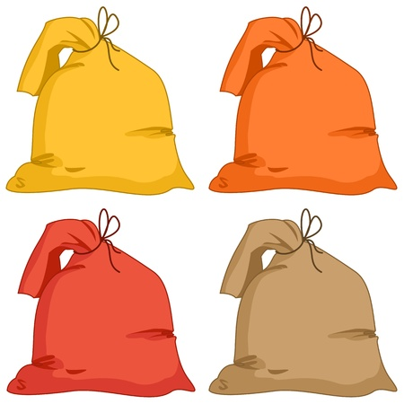 Bags from a linen fabric of different colours, set Stock Vector - 9288594