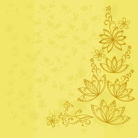 Abstract yellow background with graphic floral pattern