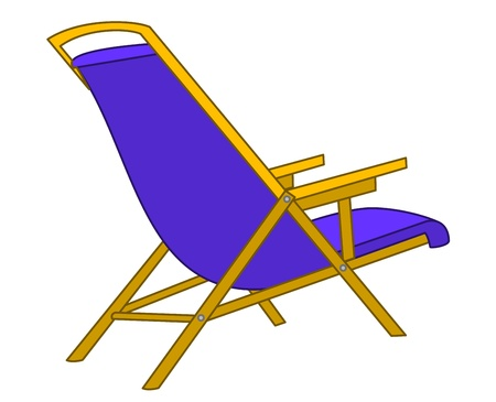 chaise: Dark blue empty beach chaise lounge, isolated