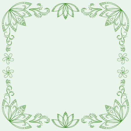 Abstract vector green background with graphic floral pattern Stock Vector - 9340289