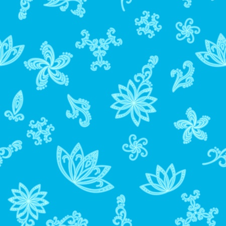 Abstract blue seamless vector background with white graphic floral pattern Vector