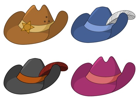 hatband: set of ancient hats: the sheriff, the musketeer, the robber and the gentleman Illustration