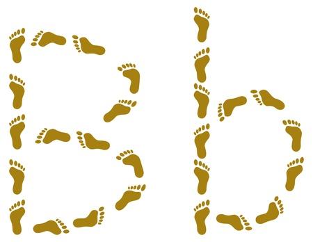footprints sand: Alphabet from human footprint on sand, letter B