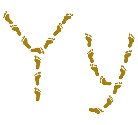 Alphabet from human footprint on sand, letter Y Vector