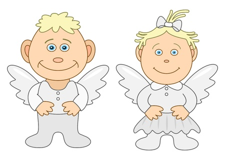 Angels, childrens, little boy and little girl, vector, isolated Vector