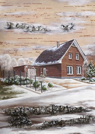 distemper: Picture, country house. Drawing distemper on a birch bark Stock Photo