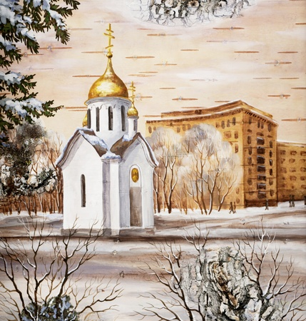 Picture, chapel of sacred Nikolay, Russia, Novosibirsk. Drawing distemper on a birch bark