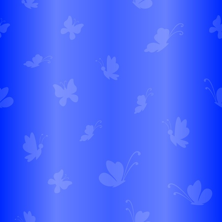 Vector seamless background, white silhouettes butterflies on blue background Stock Vector - 9465080