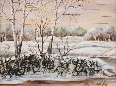Drawing distemper on a birch bark: winter siberian landscape photo