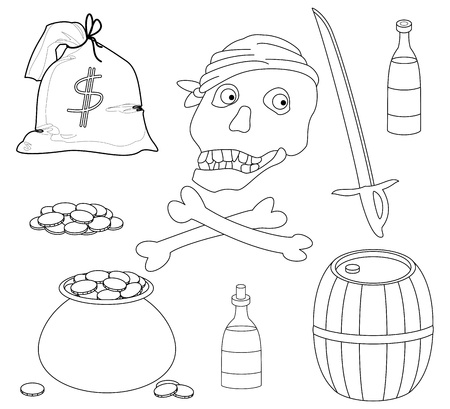 Vector, Jolly Roger and set of piracy objects, contours Stock Vector - 9810112