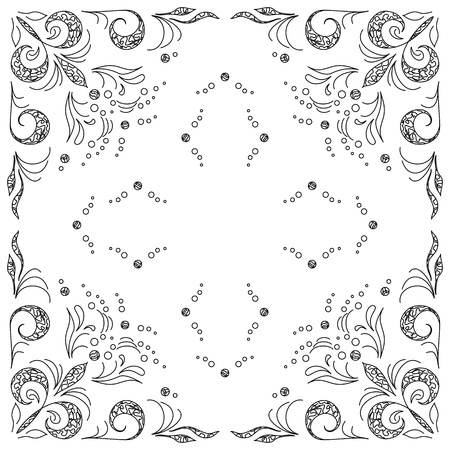 Abstract vector background with graphic outline floral pattern Stock Vector - 9810115